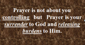 prayer isn't controlling